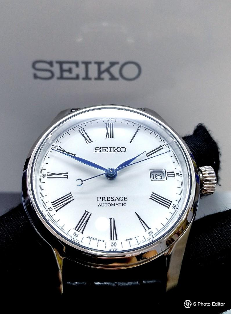 * FREE DELIVERY * Made In Japan Brand New 100% Authentic Seiko Presage White Enamel Dial Mens Automatic Dress Watch with Blue Hands SPB047J SARX049
