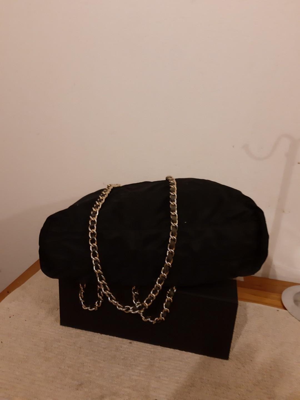 AUTHENTIC PRADA MEDIUM CHAIN SHOULDER BAG - BLACK NYLON CANVAS, GOLD HARDWARE- CLEAN INTERIOR,  OVERALL GOOD - (PRADA CHAIN SHOULDER BAGS NOW RETAIL OVER RM 5000+)