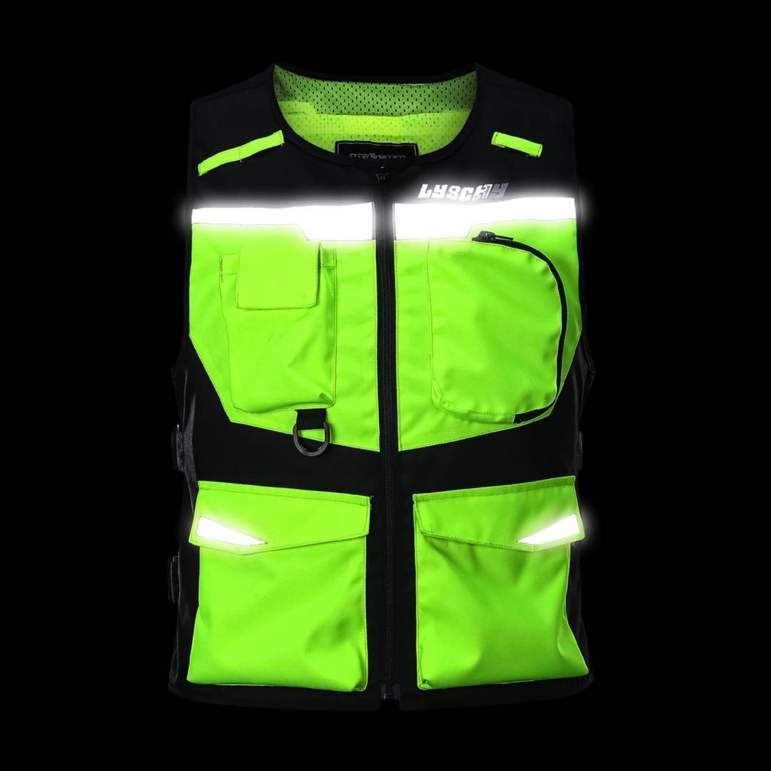 意大利ce2级防护后背摩托车机车骑行摩旅荧光黄背反光防摔心马甲
