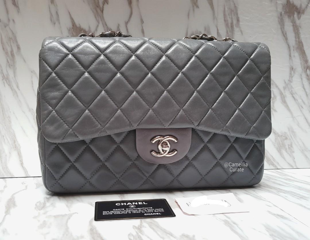 77c4371e8652 CHANEL GREY Classic Jumbo Single flap in Glazed Calfskin SHW, Luxury, Bags  & Wallets, Handbags on Carousell