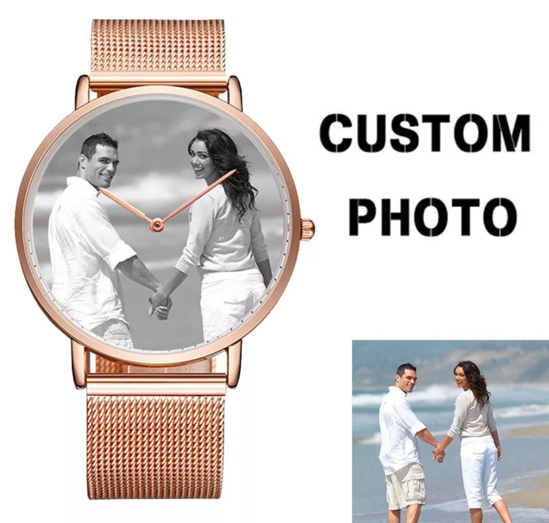 43a5906d2 Custom Print Couple Watches Metal Strap Custom Engraving Logo