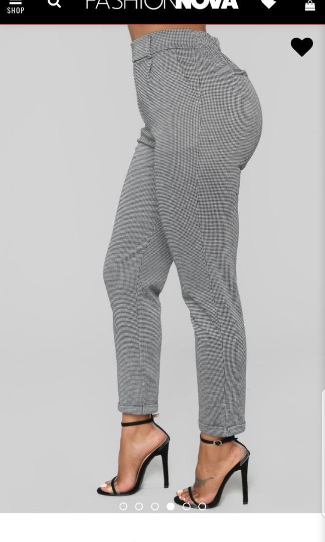 FASHION NOVA - HIGH WAISTED PLAID PANTS - NEW