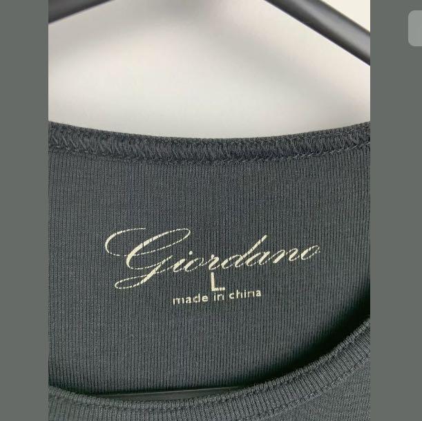 Giordano sz M/L black basic women top t shirt comfy casual stretch 100% Cotton