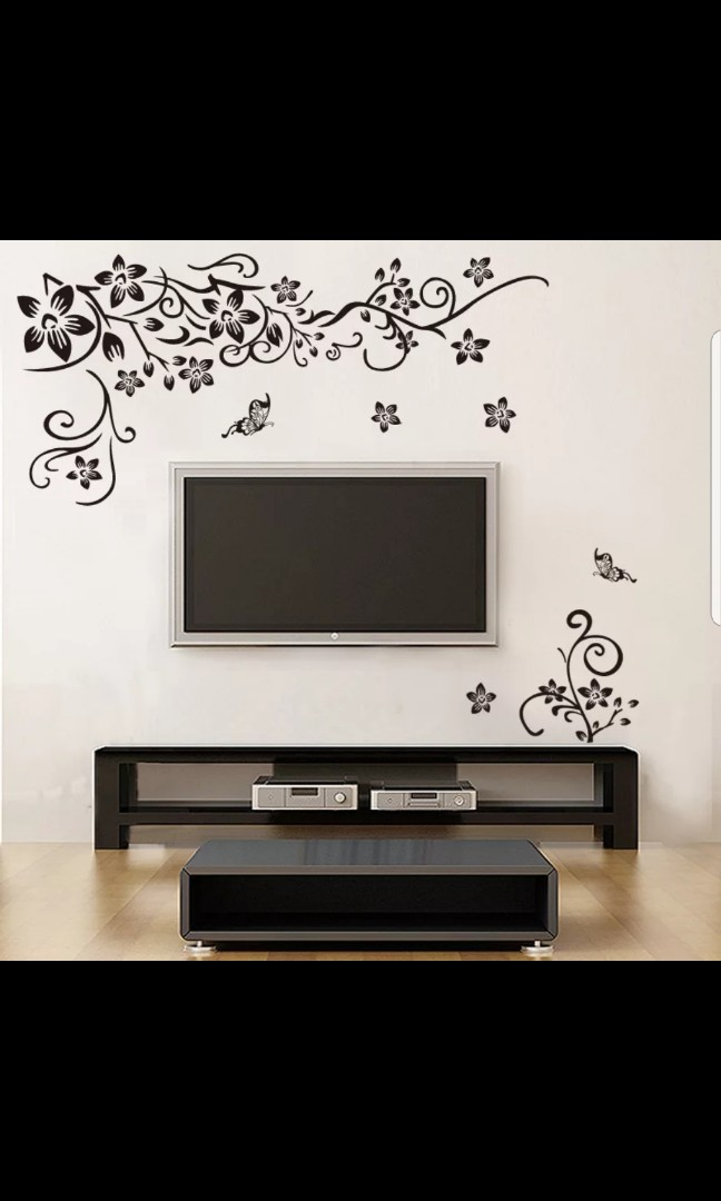 Romantic Black Butterfly Flower Vine Rattan Room Bedroom Room Decoration Tv Background Wall Stickers Wall Stickers Strong Paste Wall Stickers Home Decor