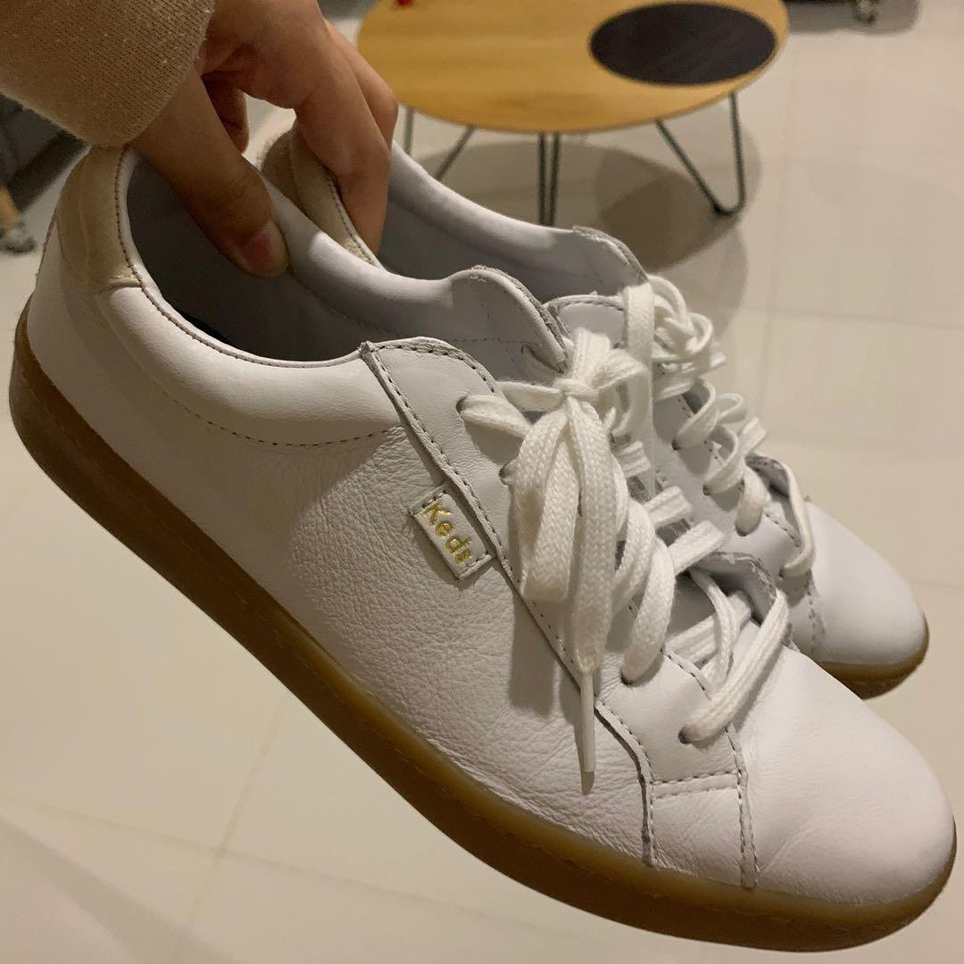 keds white leather gum sole sneakers