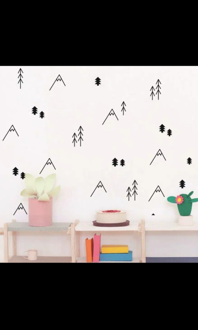 Nordic ins children\'s room simple line hill small tree wall stickers ...