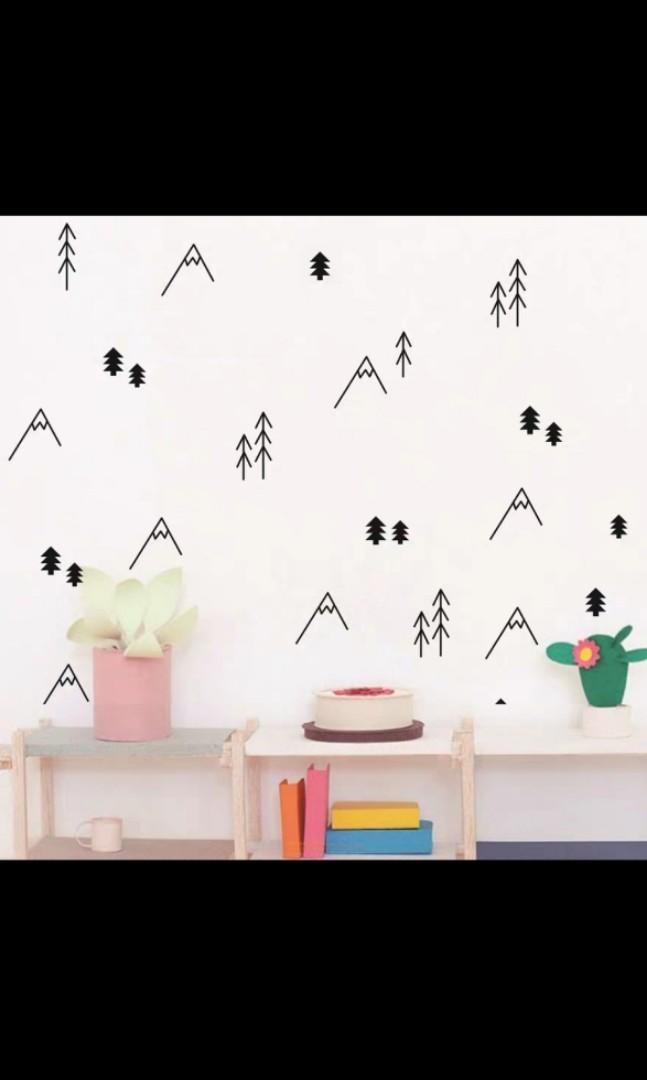 Nordic ins children\'s room simple line hill small tree wall ...
