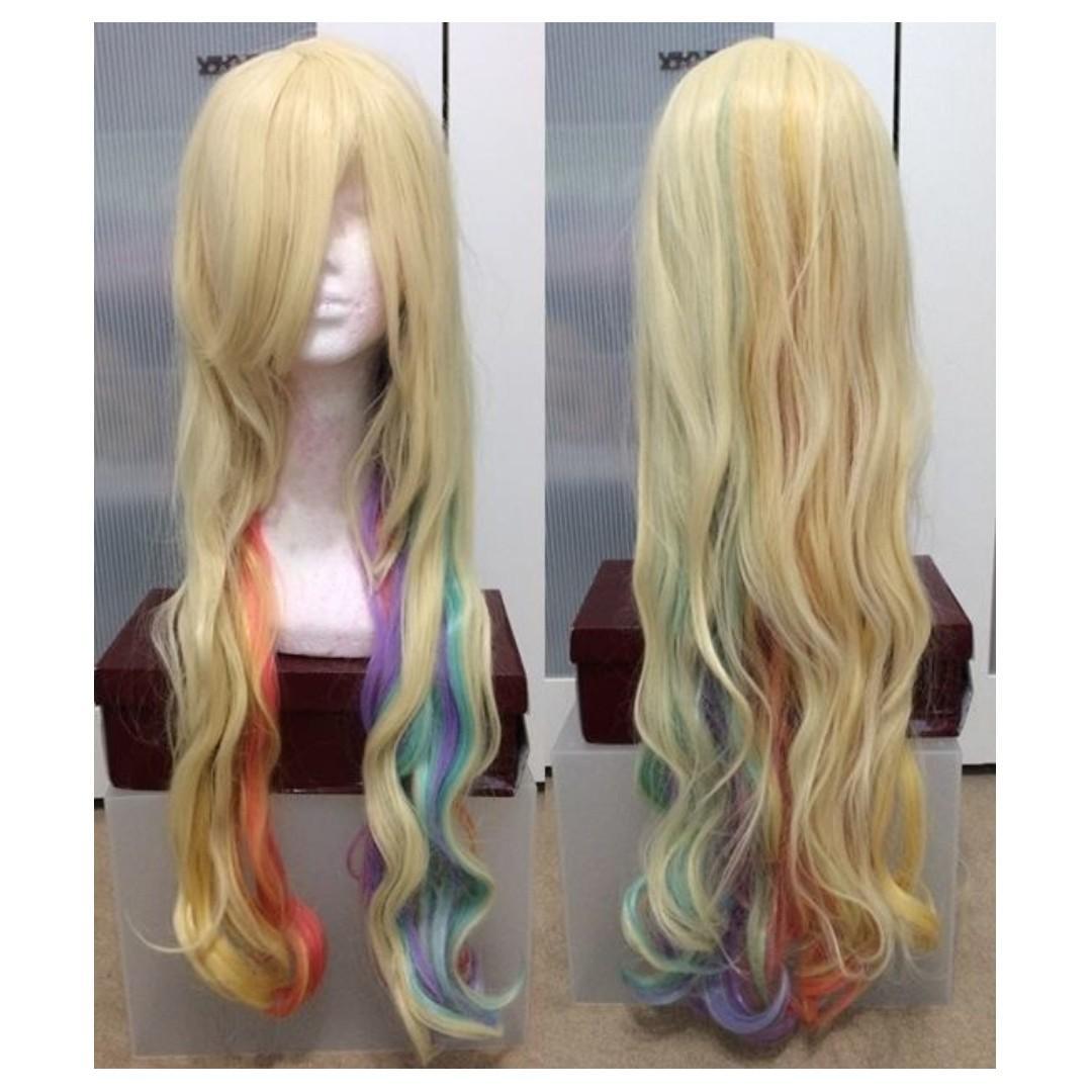 Platinum Blonde Rainbow Under dyed wig for Cosplay J Fashion