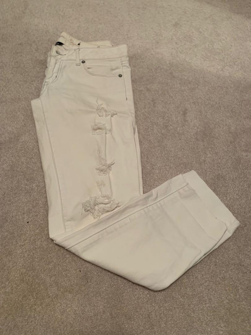 PRICE DROP Low rise white ripped stretch skinny jeans size 4