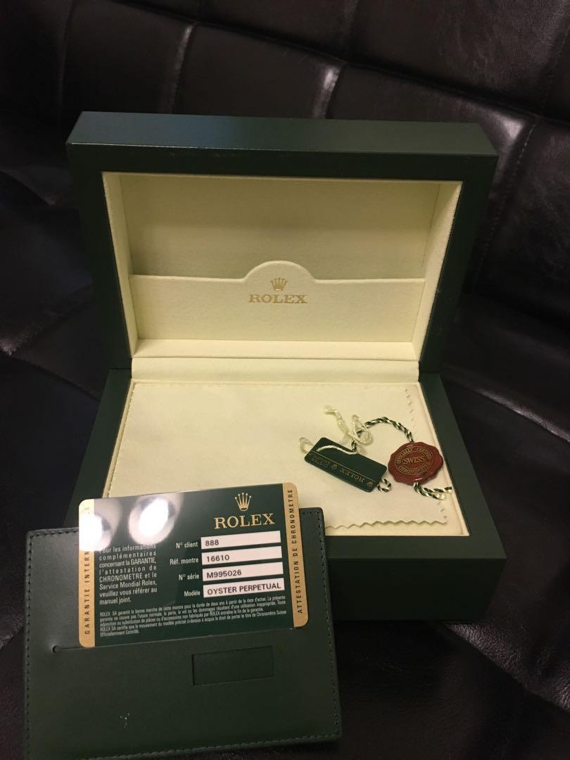 Rolex 16610 錶盒,保用證,說明書,兩格表帶,單據