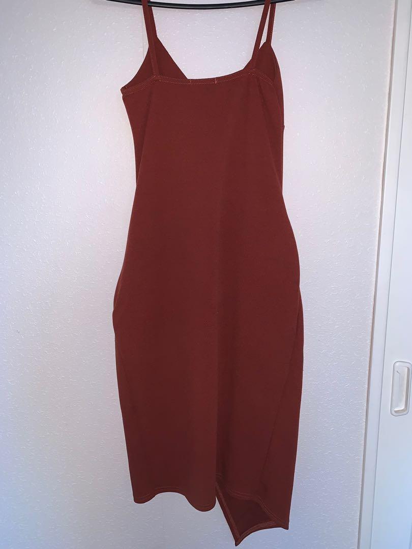 Rust Wrap Front Dress