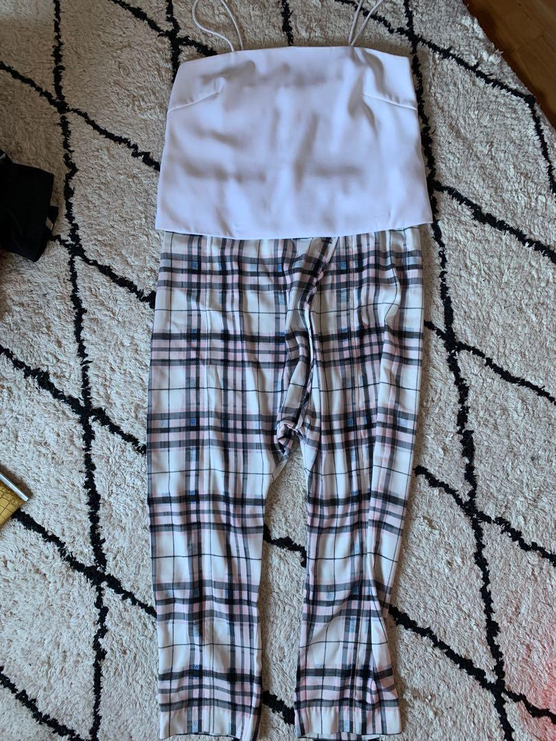 Tartan drop crotch pants size S