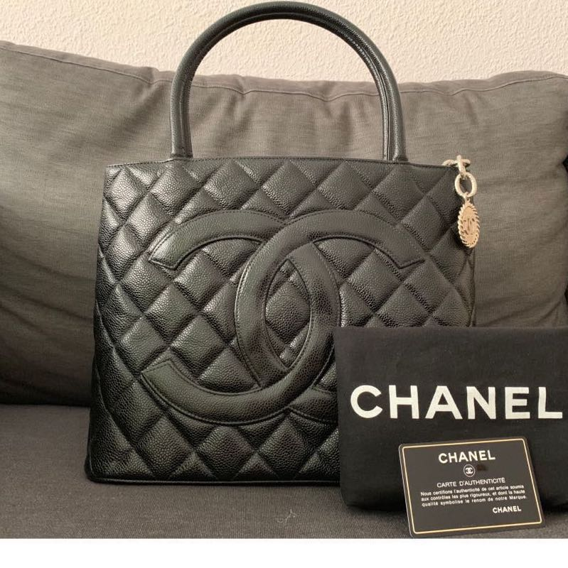 bc12d61ef9bb Vintage Chanel Medallion Tote Bag with Silver Hardware and Caviar ...