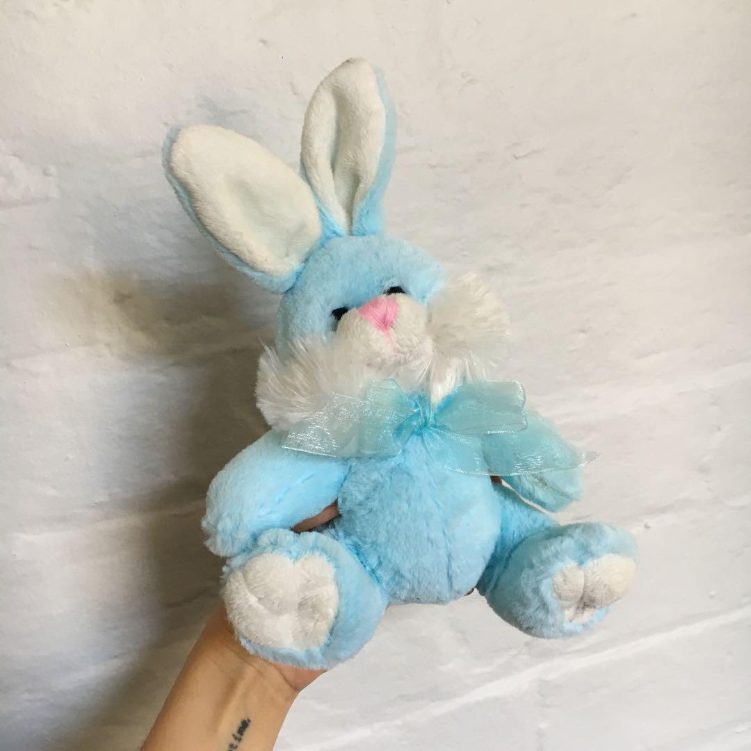 Vintage Easter Bunny Soft Toy   Lovely Baby Blue Plush Toy