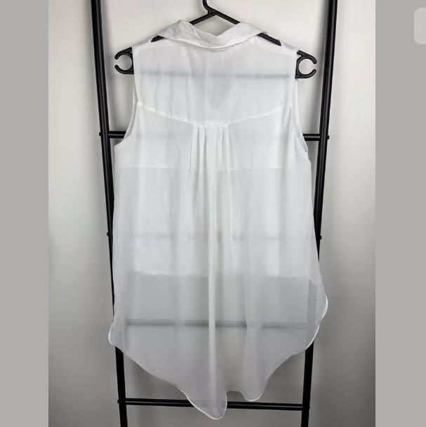 White sz S/M semi sheer chiffon hi lo tank top shirt blouse basic casual flowy