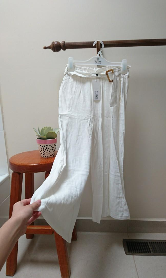 white tortoise shell buckle tie waist culottes size 6 xs