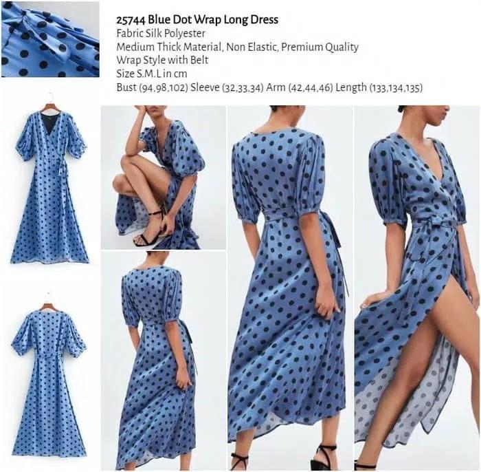 WST 25744 Blue Dot Wrap Long Dress