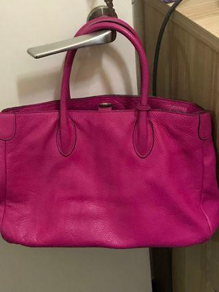 桃紅色 Rabeanco 真皮 real leather 手挽袋 側咩袋 包包