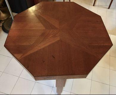 Art Deco Teak Center Table with Geometric Marquetry, Colonial Era 1930s.