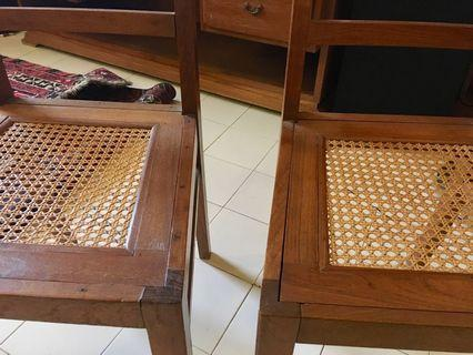 Pair of Colonial Malaya Teak & Cane Side Chairs c. 1930s.