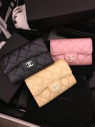 😱SUPERWoww😱19S Chanel Iridescent Glitter Classic Card Wallet Spring Summer Yellow Pink Black Ghw #27