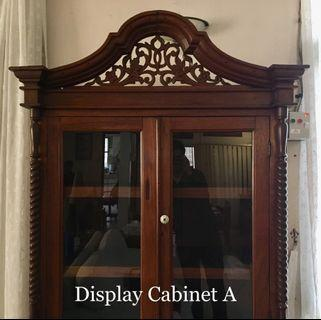 Peranakan Display Cabinet in Fine Teak Wood; around 1930s Estate Piece.