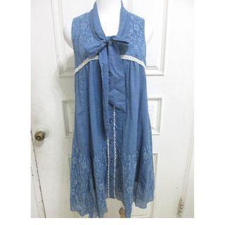 🚚 axes femme 牛仔藍蕾絲 薄棉料 長版上衣 小洋裝 寬版