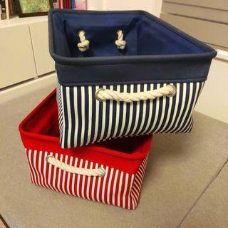 收納箱 收納盒 收納籃 藍色條紋 紅色條紋 #半價居家拍賣會