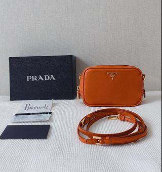 56a548a3bf37 100% Authentic PRADA Saffiano Calfskin Mini/ Cross-body Shoulder Bag with  Strap