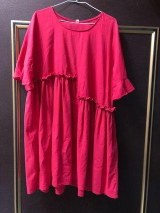 紅色長洋裝 荷葉袖洋裝 娃娃洋裝