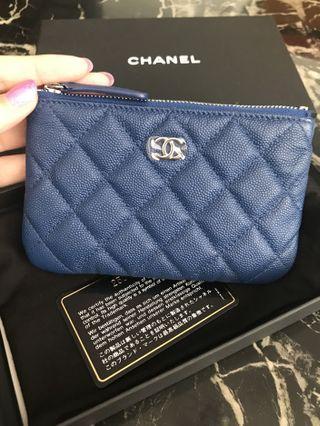 💖LNIB💖Chanel Mini O Case Blue Caviar Leather Shiny Shw #25