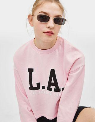 Bershka Cropped Top Pink LA