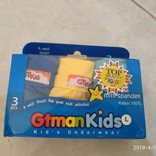 3 Celana Dalam GT man kids L GRATIS lunch box