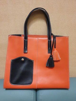 🚚 橘色撞色包包 拼色包包 手提包