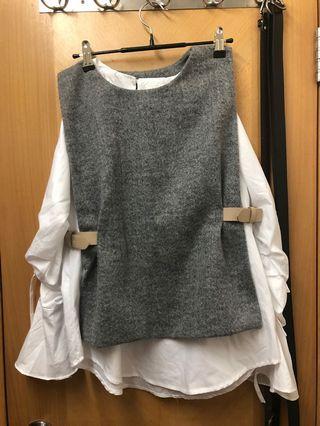 95%新*韓國灰色上衣套裝