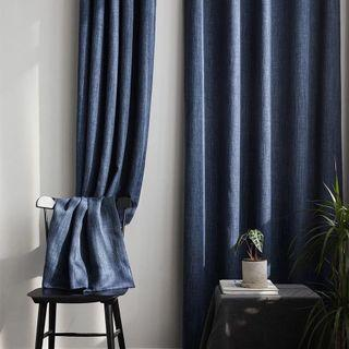 High quality cotton linen curtain in navy x2