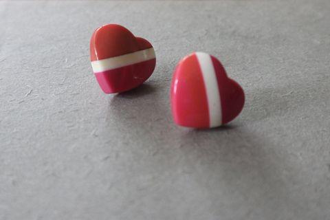 もも🍑愛心耳環|70s 80s 粉紅 桃紅 復古 摩登 早期良品 Vintage 古著