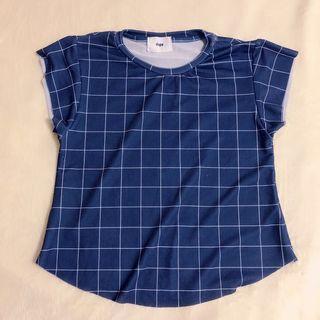 Blue Checked Soft Tee Shirts 蓝色格子软布料T恤