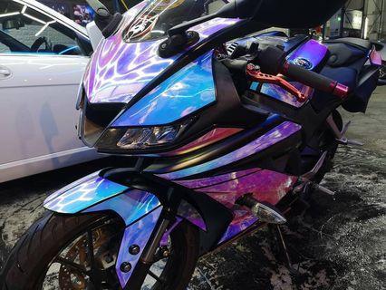 Iridescent Chrome Blue Bike Wrap