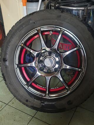售 四顆 DATA 4孔100 14吋美美鋁圈 含5-6成新米其林輪胎 售7000