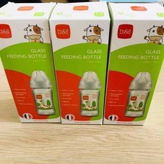 B&H glass feeding bottle 240ml for 3 All item玻璃奶樽奶嘴連蓋 全部包順豐