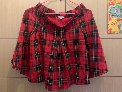 紅色格仔裙 短裙 拉鍊 Red Check Shirt