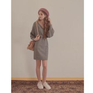 全新轉賣-舒適顯瘦性感女人優雅V領綁帶蝴蝶結針織料連身裙/長袖洋裝 紫