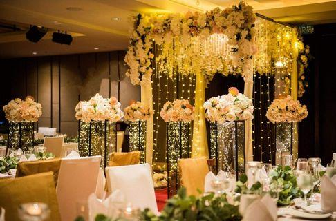 Walk-in aisle floral dripping arch with fairylights wedding decoration