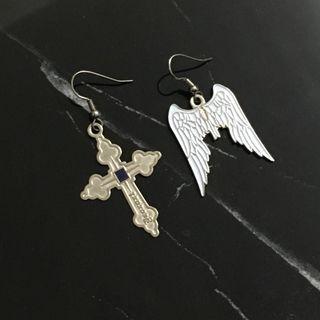 Deorart 銀耳環 天使翼 十字架