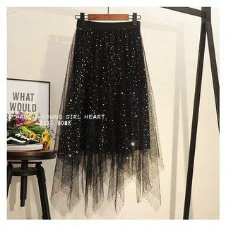 Black shiny net Skirt