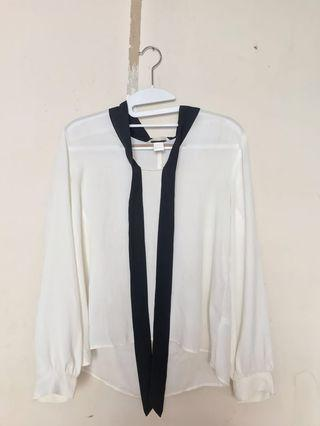H&M White Blouse (Fit To L)