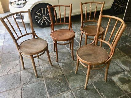 4 Original Early THONET Chairs, For Restoration.
