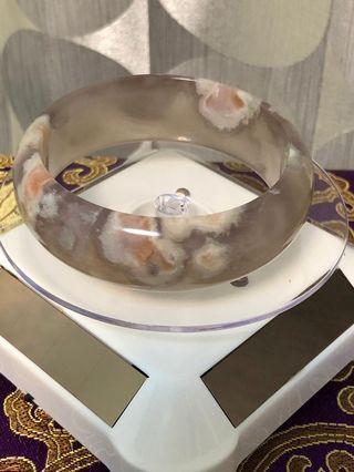 櫻花瑪瑙手鐲,58+圈口,少有高冰透紫灰色手鐲,無瑕