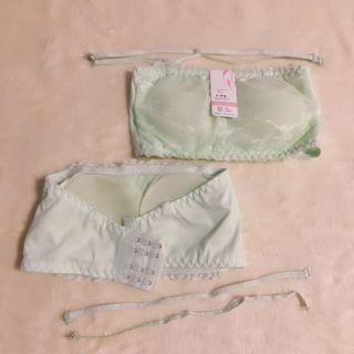 🚚 Lime Green Lace Tube Bra Removable Paddings With Straps